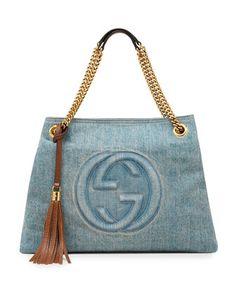 For Mom - Gucci Soho Medium Blue Denim Tote - Neiman Marcus