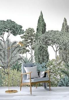 Landscape non-woven paper wallpaper RIVIERA NATUREL Naturels Collection By Isidore Leroy design Isabel Parmentier Scenic Wallpaper, Graphic Wallpaper, Paper Wallpaper, Home Wallpaper, Kitchen Feature Wall, Grisaille, Stunning Wallpapers, Bedroom Murals, Guest Room Office
