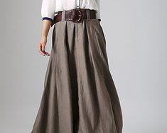 Khaki skirt woman Maxi linen skirt with button detail by xiaolizi