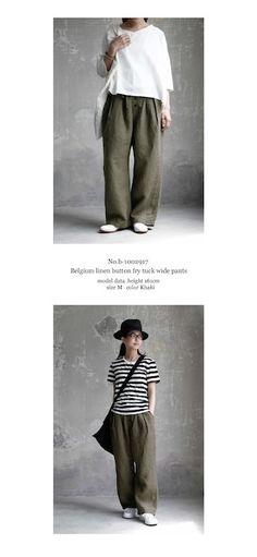 【送料無料】joie de vivre ベルギーリネン ボタンフライ高密度リネンワイドパンツ