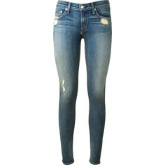 Rag & Bone Blue Washed Used Effect Skinny Jeans ($235) ❤ liked on Polyvore featuring jeans, pants, bottoms, calças, ripped skinny jeans, ripped jeans, zipper skinny jeans, destructed jeans and destroyed jeans