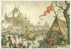 Anton Pieck - Grote Houtpoort thv Grote Houtbrug Haarlem (met in de verte de Kalistoren en Kleine Houtpoort, alle aan de zuidkant van de stad, rond 1825 gesloopt)