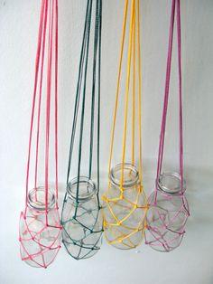 macrame plant hanger with glass bottle