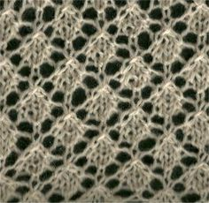 Little Diamonds lace stitch - from Knittingfool. Very nice for a shawl or a baby blanket with a wide garter border (my aunt in Chicago made me one of these in white for my first child - it is beautiful and I still have it) Spool Knitting, Knitting Stiches, Crotchet Patterns, Cable Knitting, Tatting Patterns, Crochet Stitches Patterns, Knitting Videos, Knitting Patterns Free, Stitch Patterns