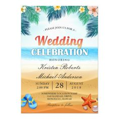 Shop Tropical Palm Beach Summer Wedding Celebration Invitation created by CardHunter. Personalize it with photos & text or purchase as is! Couples Wedding Shower Invitations, Wedding Shower Cards, Summer Wedding Invitations, Wedding Couples, Party Invitations, Wedding Showers, Summer Couples, Beach Couples, Luau Wedding Receptions