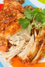 Slow Cooker Cilantro Lime Chicken - This recipe made approximately 5 cups of shredded chicken. On Weight Watchers, it added up to 4 points per cup. It was really good in tacos and for quesadillas.