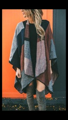 Color block cardigan poncho. Brownish/rust, black and grey. Grey over the knee boots. Stitch Fix fashion 2016