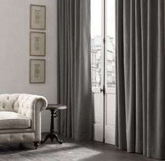 RH& Belgian Brushed Linen Cotton Drapery:Woven from a rich blend of Belgian linen and cotton, our heavyweight fabric is brushed to create a luxe, velvet-like texture with vintage appeal. Drapery Rods, Drapery Fabric, Linen Fabric, Dining Room Curtains, Curtain Designs, Window Coverings, Window Treatments, Home Staging, Nooks