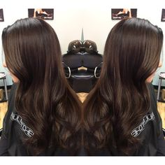 Chocolate espresso brown hair , subtle caramel highlights , curls // dimension // more styles on Instagram // @samcheevs