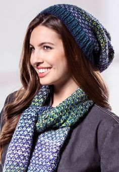 Free Knitting Pattern for 4 Row Repeat Pebble Hat and Scarf Set - Matching slouchy hat and scarf are knit in a 2 color 4 row repeat broken rib pattern with constrasting multicolor yarns.