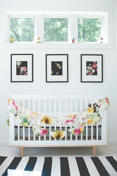 black and white nursery with flowers