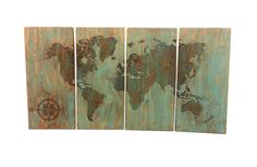 World map wall hanging large carving in solid by TimberArtSigns