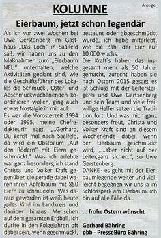 Eierbaum Saalfeld - Aktuelles