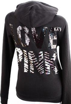 Victoria's Secret Love PINK Zebra Sequin Bling Zip Hoodie Sweatshirt