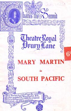 South Pacific Drury Lane Theatre Programme 1951 with Mary Martin    Ref.724