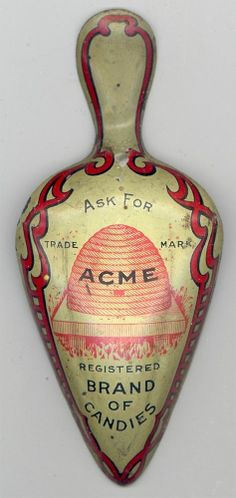 RARE ADVERTISING Antique ACME CANDIES SCOOP Tin Litho BEEHIVE