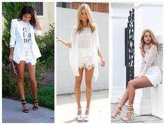 Look total branco com shorts.