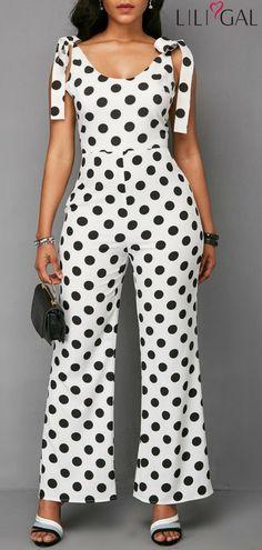 Polka Dot Bowknot Shoulder Scoop Back Jumpsuit   #liligal #jumpsuits #womenswear #womensfashion