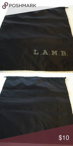 L.A.M.B DUST BAG Black nylon dust bag with logo on front in gray L.A.M.B. Bags