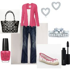 Cute Mom on the go look and Valentine Day outfit!