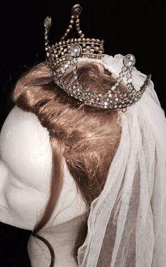 ANTIQUE BALLET CROWN TIARA HEADDRESS RHINESTONE BRASS VINTAGE WEDDING VEIL DRESS