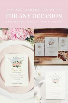 Vintage Garden Tea Party Invitation Templates for Baby Shower, Birthday Party or Bridal Shower. #vintage #garden #teaparty #teatime #timefortea #teafortwo #loveisbrewing #bridalshower #babyshower #birthdayparty #teapot #gardenparty #tea #watercolorflowers #invitation #invite #invites #editable #printable #digitaldownload #outdoorparty Tea Party Invitations, Invites, Printable Planner, Printables, Invitation Templates, Teapot, Babyshower, Bridal Shower, My Etsy Shop