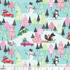 20% Off! Winter Playground Josephine Kimberling Christmas Penguin Fabric Cool Yule Collection Winter Fabric Snowmen Sleds Christmas Fabric by Owlanddrum on Etsy