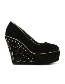 Fantastic Rhinestone Studded Nubuck Woman's Wedge Shoes