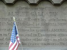 Albert Gallatin grave at Trinity Church in New York City. Gallatin was a Swiss-born politician, who served in both houses of Congress, U.S. Ambassador, and Secretary of Treasury. He also founded NYU.