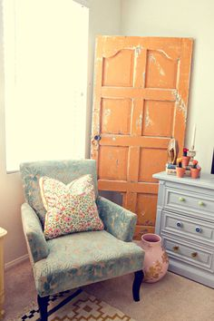 Orange Wood Door as an accessory.  Dishfunctional Designs: New Takes On Old Doors: Salvaged Doors Repurposed