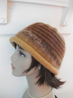 Hand Knit Wool Felted Cloche Hat for Women by MaggiesInn on Etsy