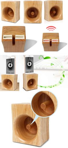 A Wooden Horn Style Speaker iPhone Cell Phone Sound amplifier Cell Phone Stand Holder Mount Holder Amplification Stands for iPhone 77 Plus and other smartphones Diy Cell Phone Stand, Desk Phone Holder, Iphone Holder, Tablet Holder, Iphone S6 Plus, Iphone Phone, Wooden Speakers, Diy Speakers, Prepaid Cell Phone Plans
