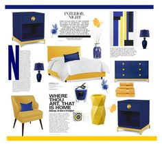 """Blue And Yellow Home"" by southindianmakeup1990 ❤ liked on Polyvore featuring interior, interiors, interior design, home, home decor, interior decorating, Christy, Pier 1 Imports, Skyline and Baobab Collection"
