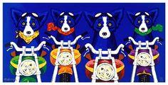 motorcycle blue dog