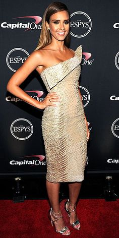 JESSICA ALBA | Bringing some shine to the ESPYs, Jessica dons a dazzling Elie Saab Haute Couture dress, which coordinates with silver Brian Atwood sandals for the L.A. event.