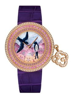 Van Cleef & Arpels 'Charms Extraordinaire' Hirondelles in pink gold case, with diamonds. Bezel set with pink and violet sapphires. Dial includes miniature painting on mother-of-pearl, diamonds and violet sapphires. Limited to 22 pieces. Amazing Watches, Beautiful Watches, Cool Watches, Watches For Men, Ladies Watches, Woman Watches, Unique Watches, Stylish Watches, Vintage Watches