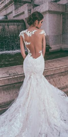 Chic Spaghetti Straps V-neck Lace Wedding Dress Backless Mermaid Wedding Gowns - New ideas Evening Wedding Guest Dresses, Lace Back Wedding Dress, Fit And Flare Wedding Dress, Wedding Dress Trends, Best Wedding Dresses, Wedding Attire, Bridal Dresses, Wedding Ideas, Lace Dresses