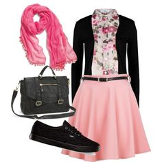 or with pink cardigan and khaki or charcoal skirt and black dress flats and pink purse