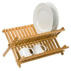 Folding Bamboo Dish Rack | The Container Store
