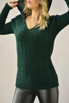 d7d2224fa33c Γυναικείο πουλόβερ με κουκούλα PLEK-2709-gr Πλεκτά   Πλεκτά και ζακέτες