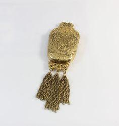 Vintage ACCESSOCRAFT Golden Art Nouveau Styled Necessity Third Pocket Brooch Pin #Accessocraft