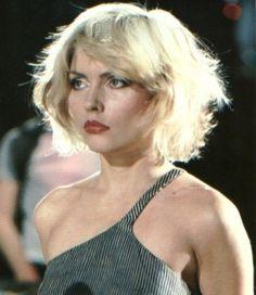 Debbie Harry short choppy cut w bangs.