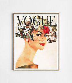 Vogue vintage cover. Vogue poster. Watercolor fashion por Byoliart