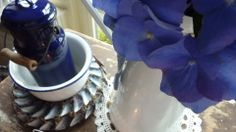 Blue hydrangea & enamel can, brocante ~ seeshappyhome.blogspot.com