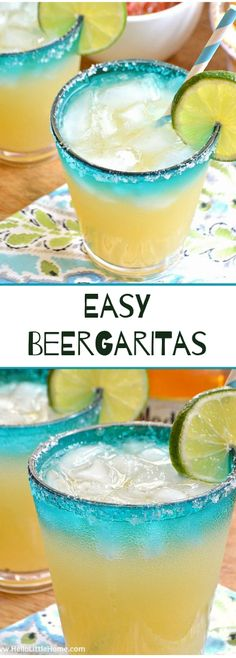 Easy Beergaritas recipe: a delicious, refreshing combination of your two favorite party drinks, beer and margaritas. Perfect for Cinco de Mayo or any celebration! Party Drinks Alcohol, Fruit Drinks, Non Alcoholic Drinks, Healthy Drinks, Beverages, Bartender Drinks, Margarita Drink, Margarita Recipes, Cocktail Recipes