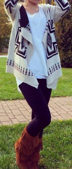 Aztec sweater and frindge boots