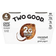 Two Good Coconut Greek Yogurt - Cups Low Sugar Yogurt, Greek Yogurt, Honey Maid Graham Crackers, Yogurt Packaging, Yogurt Cups, Second Best, Coconut, Snacks, High Protein
