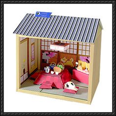 Japanese Winter and Spring Style Doll House Free Paper Model Download