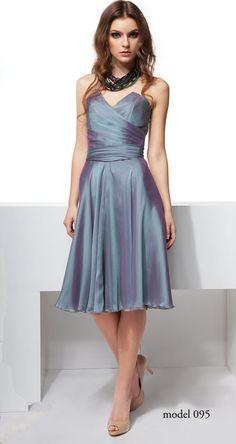 Bajeczna kobieca sukienka ze sztucznego jedwabiu, mon 095