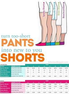 turn pants into shorts - great for pants that are too short!